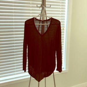 Aritzia Sheer v neck shirt